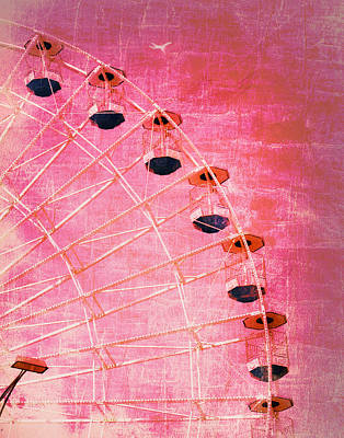 Photograph - Wonder Wheel And Plane Series 3 Red by Marianne Campolongo