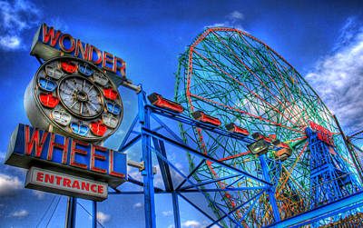 Hdr Photograph - Wonder Wheel by Bryan Hochman
