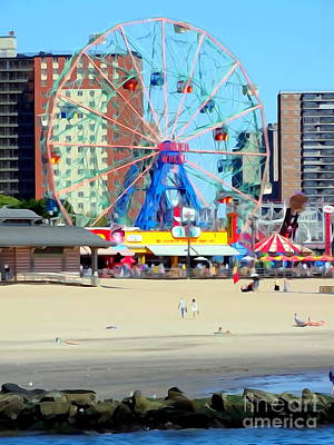 Photograph - Wonder Wheel From Beach by Ed Weidman