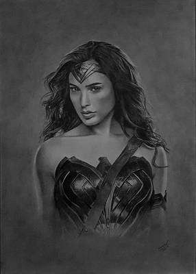 Justice League Drawing - Wonder Woman by John Wood