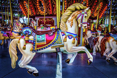 Antique Carousel Photograph - Wonderful Carrousel Horse Ride by Garry Gay