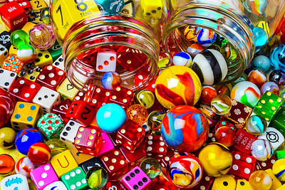 Pour Photograph - Wonderful Colored Marbles And Dice by Garry Gay