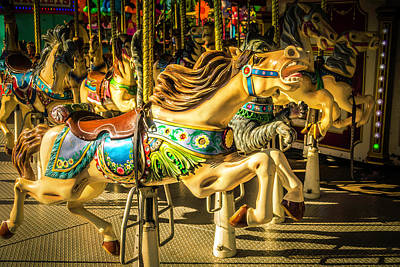 Antique Carousel Photograph - Wonderful Horse Ride by Garry Gay