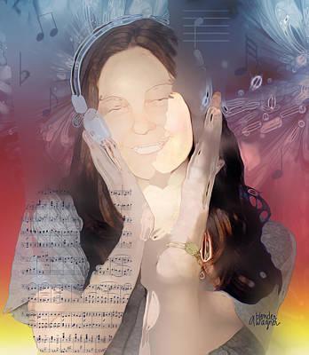 Girl Digital Art - Wonderful Sounds Of Music by Arline Wagner