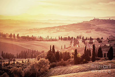 Photograph - Wonderful Tuscany Landscape With Cypress Trees, Farms And Small Medieval Towns, Italy. Vintage Sunset by Michal Bednarek