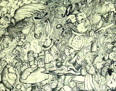 Mad Hatter Drawing - Wonderland Doodle by Marsha Hale