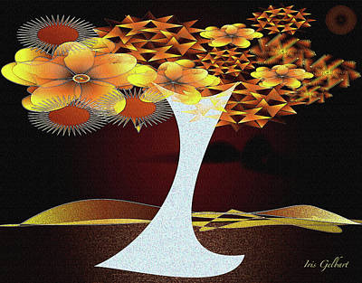 Digital Art - Wonderland's Flowering Tree by Iris Gelbart