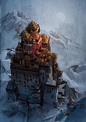 Digital Art - Wonders Holy Temple by Te Hu