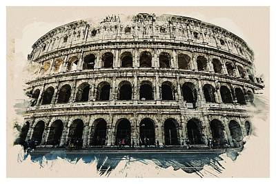 Landmarks Painting - Wonders Of The Worlds - Rome Monument Colosseum Italy by Celestial Images