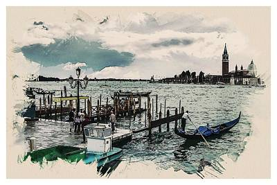 Nature Painting - Wonders Of The Worlds - Venice Gondola Water Venezia Europe by Celestial Images