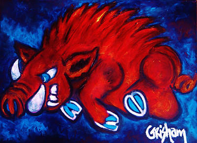 University Of Arkansas Wall Art - Painting - Woo Pig by Laura  Grisham