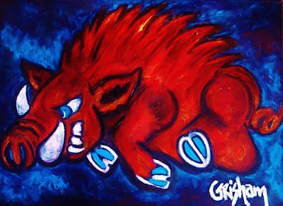 University Of Arkansas Painting - Woo Pig by Laura  Grisham