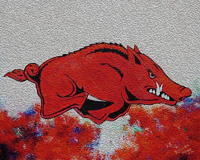 University Of Arkansas Digital Art - Woo Pig Sooie 2 by Belinda Nagy