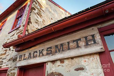 Wood Blacksmith Sign On Building Art Print