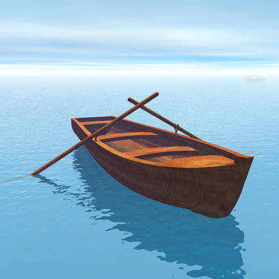 Canoe Digital Art - Wood Boat - 3d Render by Elenarts - Elena Duvernay Digital Art