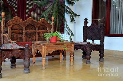 Photograph - Wood Carved Handicraft Seat Chairs And Sofa Swat Valley Pakistan by Imran Ahmed