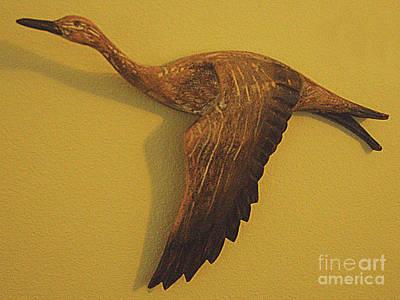 Photograph - Wood Carving - Duck In Flight by Merton Allen