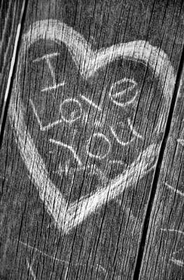 Wood Carving I Love You Print by Connie Cooper-Edwards