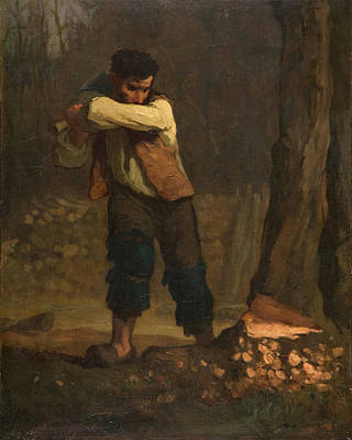 Agriculture Painting - Wood Chopper by Jean-Francois Millet