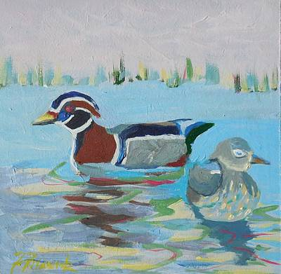 Painting - Wood Duck Pair by Francine Frank