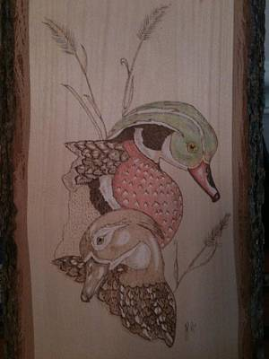 John Pitre Pyrography - Wood Duck Plaque by John Pitre