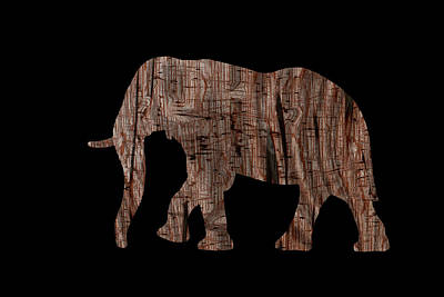 Digital Art - Wood Elephant by Ernie Echols