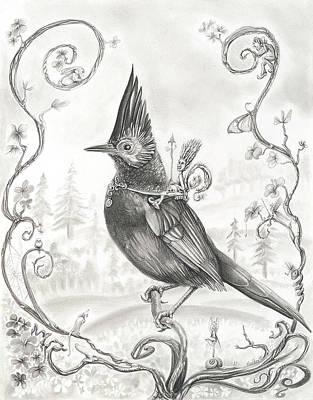 Wood Elf Warrior On Stellar's Jay Art Print