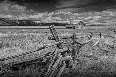 Brown Tones Photograph - Wood Fence With John Moulton Farm In Black And White by Randall Nyhof