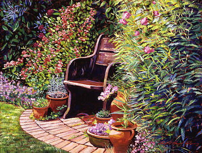 Brick Painting - Wood Garden Chair by David Lloyd Glover