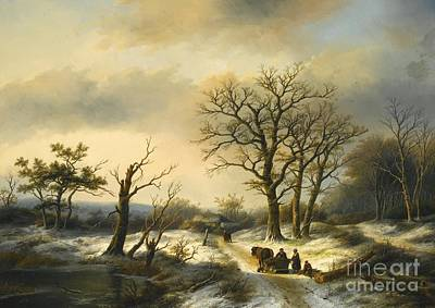 Gatherers Painting - Wood Gatherers On A Snowy Path by MotionAge Designs