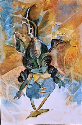 Make Believe Painting - Wood Goblin by Mindy Newman