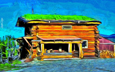 House Digital Art - Wood House - Da by Leonardo Digenio