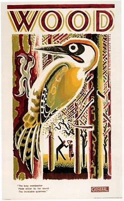 Woodpecker Mixed Media - Wood - London Underground, London Metro, Suburban - Retro Travel Poster - Vintage Poster by Studio Grafiikka