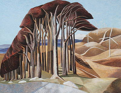 Paul Nash Painting - Wood On The Downs And Wind Farm After Paul Nash  by Adrian Jones