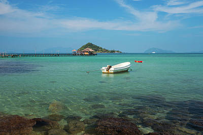 Photograph - Wood Pier And Wooded Bridge In Koh Mak by Anek Suwannaphoom