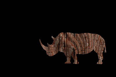 Digital Art - Wood Rhino by Ernie Echols