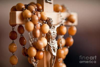 Wood Rosary And Jesus Figurine Art Print