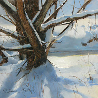 Winter Scene Painting - Wood Run Stream by Anna Rose Bain