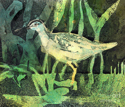 Sandpiper Mixed Media - Wood Sandpiper - Original Wax Encaust by Elizabetha Fox