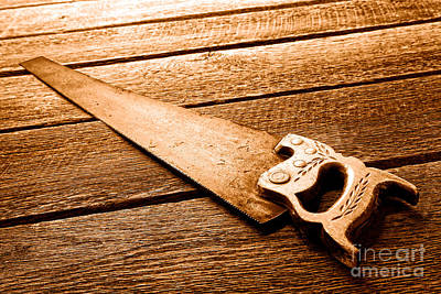 Wood Saw - Sepia Art Print by Olivier Le Queinec