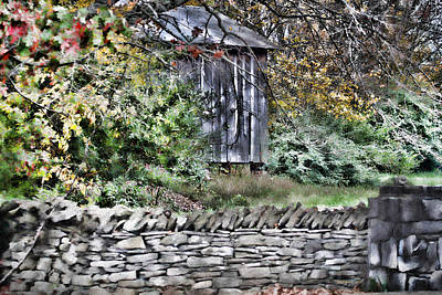 Photograph - Wood Shack And Stone Wall by Ericamaxine Price
