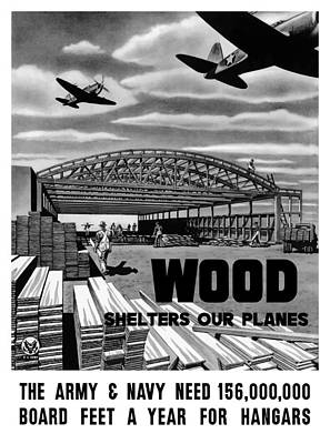 Painting - Wood Shelters Our Planes - Ww2 by War Is Hell Store