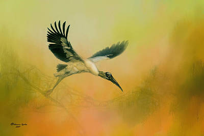 Wood Stork Encounter Art Print by Marvin Spates