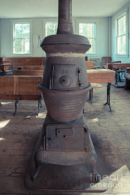 Photograph - Wood Stove In An Old One Room School House by Edward Fielding