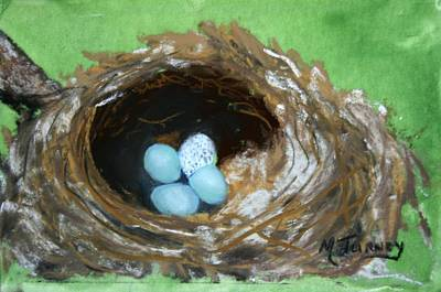 Pastel - Wood Thrush Nest by Michele Turney