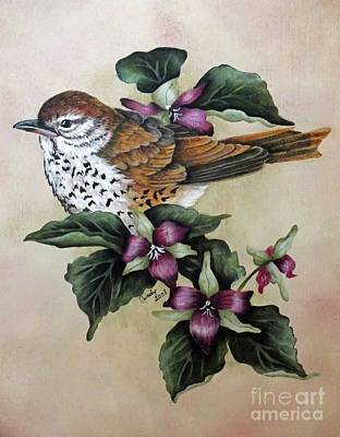 Marvelous Marble - Wood Thrush Painting by Cindy Treger
