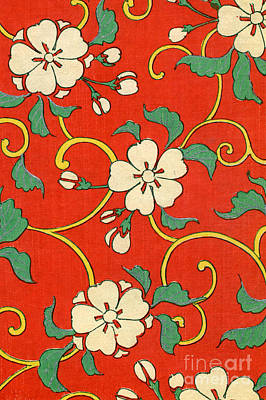 Red Flower Wall Art - Painting - Woodblock Print Of Apple Blossoms by Japanese School