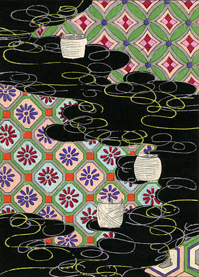 Abstract Pattern Drawing - Woodblock Print Of Lanterns On A River by Japanese School
