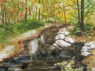 Autumn Landscape Painting - Wooded Creek by Marsha Elliott