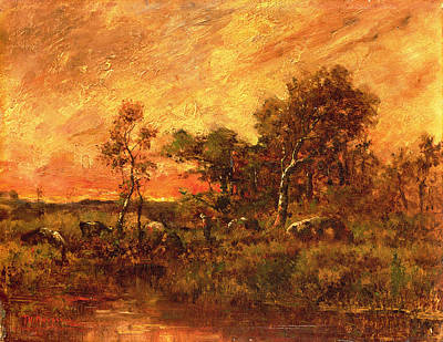 Golden Sunlight Painting - Wooded Landscape With A Faggot Gatherer by Pierre Etienne Theodore Rousseau